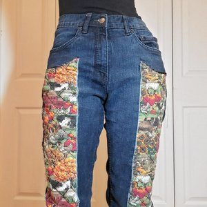 Vintage quilted high rise dark wash boot cut jeans size 30 x 33 / quilt pants